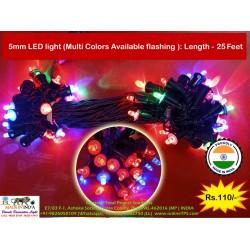 Diwali LIght 5mm LED, Multicolor, Length 25 Feet, 50 LED in Series