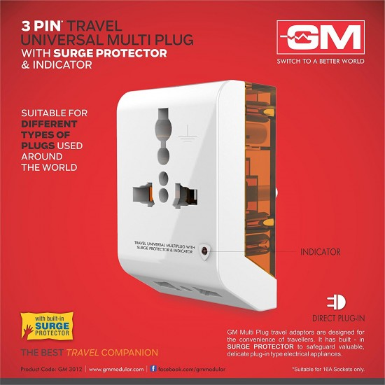 GM 3012 3 PIN TRAVEL UNIVERSAL MULTI PLUG
