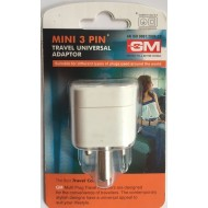 GM 3005  MINI 3 PIN TRAVEL UNIVERSAL ADAPTOR