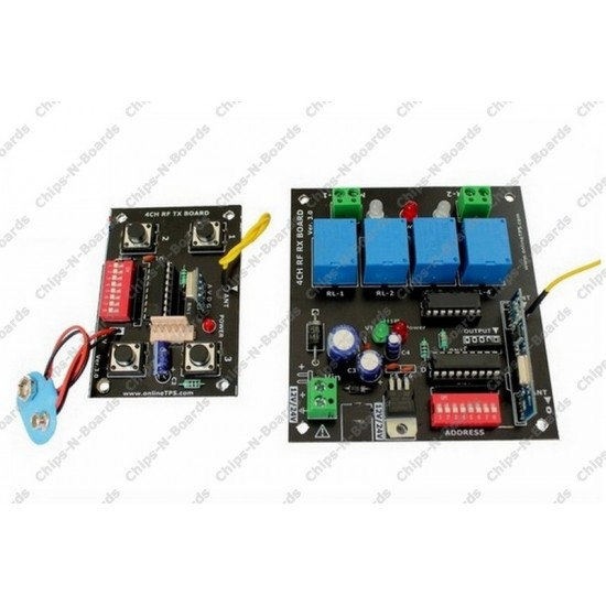 Remote Control Board 4 Channel RF - 433/315 MHz with Relay