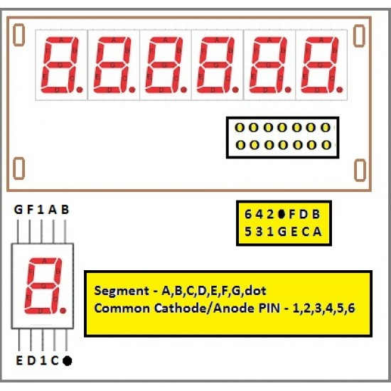 6X7 Segment LED Display - Size 0.56 Inch