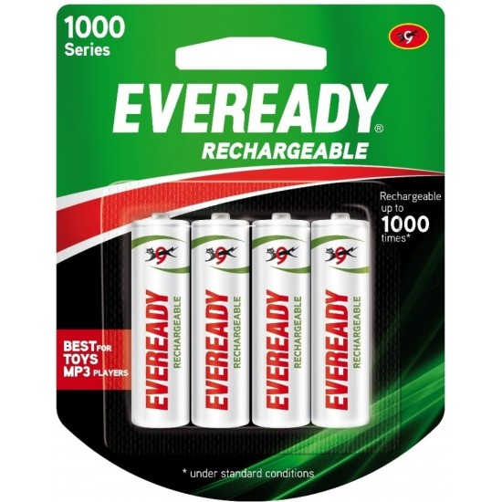 Eveready AA 600mAmp NiMH Rechargeable Battery Cell Pack of 4