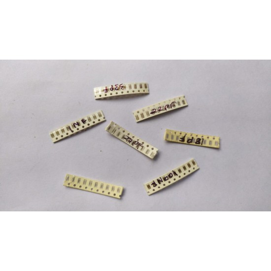 Mixed SMD Ceramic Capacitor 1206 Package - Pack OF - 70 Pcs - 10Pcs Each of - 1NF (102)  10NF (103)  100NF (104)  18PF 22PF  27PF  33PF